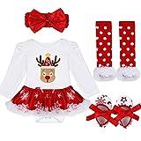YiZYiF 2tlg. / 4tlg. Baby Mädchen Kleid Weihnachten Bekleidung Set Strampler Tütü Bodys + Kopfband Weihnachtsgeschenk für 0-18 Monate (3-6 Monate, #7 Weihnachten Rentier)