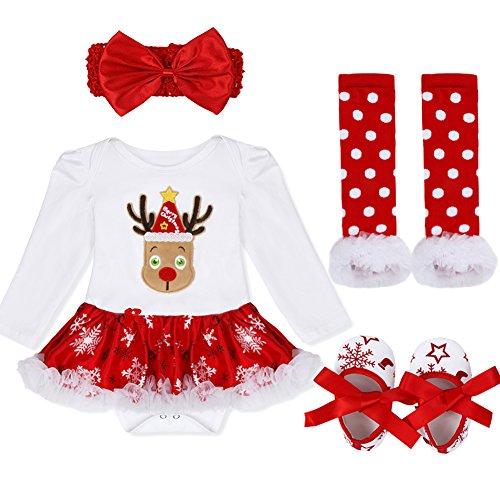YiZYiF 2tlg. / 4tlg. Baby Mädchen Kleid Weihnachten Bekleidung Set Strampler Tütü Bodys + Kopfband 0-18 Monate (3-6 Monate, 7 Weihnachten Rentier)
