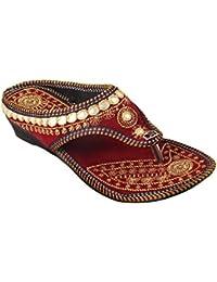 9310a2ccbe4fe5 Femme Royale Rajasthani Jaipuri Ethnic Sheesha Zari Embroidery Work Chappal  Sandal