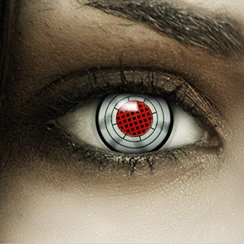 Farbige rot graue Kontaktlinsen Terminator + Kunstblut Kapseln + Behälter von FXCONTACTS®, weich, ohne Stärke als 2er Pack - perfekt zu Halloween, Karneval, Fasching oder Fasnacht
