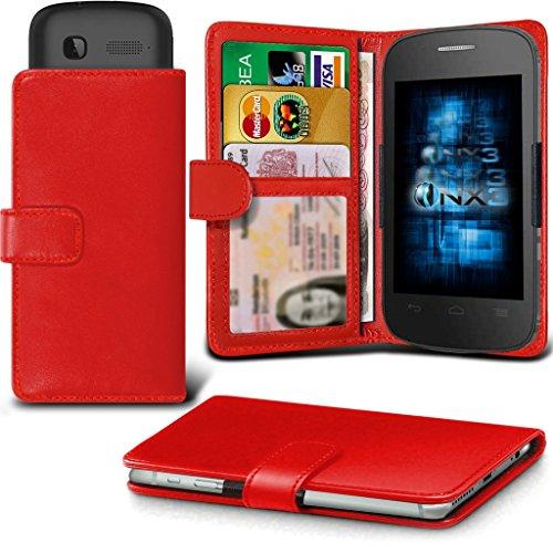 (Red) Alcatel Idol 3C Hülle Abdeckung Cover Case schutzhülle Tasche Verstellbarer Feder Mappe Identifikation-Kartenhalter-Kasten-Abdeckung ONX3