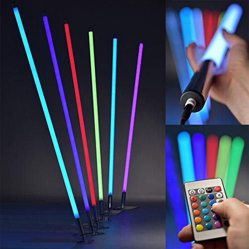 6 Leuchten (LED RGB Leuchtstab mit Fernbedienung - Lichtstab mit 8 Farben & 6 Farbwechsel-Programmen - dimmbare Leuchte niedriger Energieverbrauch max. 19W - Lebensdauer 32.000h - Made In Germany, Länge:130 cm)