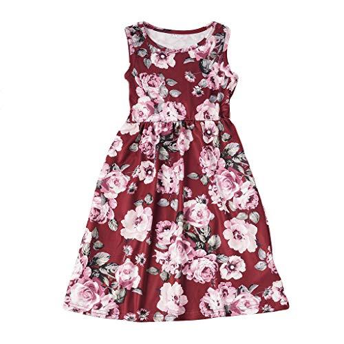 Cooljun Familie Passende Kleidung Kleinkind Kinder Baby Mädchen Kleid Blumenmuster Prinzessin Holiday Dre Eltern-Kind Mädchen - Prinzessin Beistelltisch