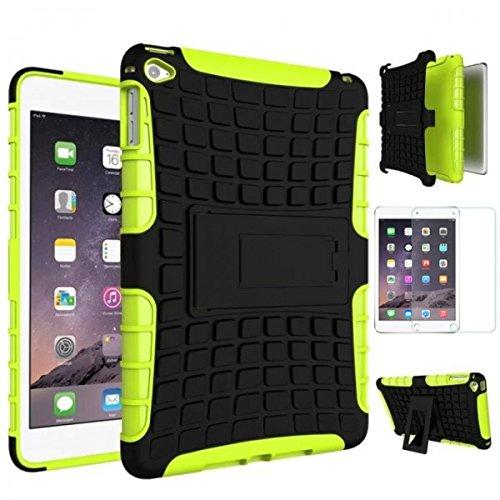 Hybrid Outdoor Schutzhülle Cover Grün für iPad Mini 4 7.9 Zoll Tasche Case + 0.3 mm H9 Tempered Panzerglas Folie
