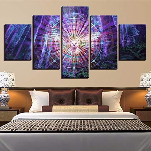 Cczxfcc Hd Drucke Poster Wohnkultur Wohnzimmer 5 Stücke Psychedelic Kaleidoskop Eule Vogel Leinwand Gemälde Wandkunst Bilder Rahmen-10X15/20/25Cm-Frame