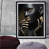 XWArtpic Abstrakt Gold Crown Schwarzafrikanerin Ölgemälde