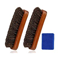 Shoe Brush, Horse Hair Brush Premium Shoe Shine Brush with Shoe Polish Cleaning Pad for Boots, Shoes, Furniture, Car Seats, Interiors, Sofas, Bags