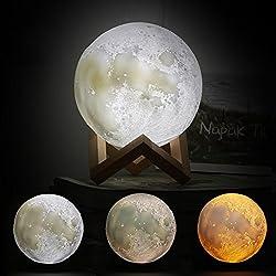 LED Mond Lampe 3D Standleuchten Nachtlicht Nachttischlampe Dimmbare Touch Lampe für Wohnzimmer