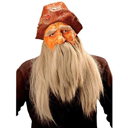 Wikingermaske Barbaren Maske mit brauner Mütze Perücke und Bart Zwergen Vollmaske mit Vollbart Räuber Faschingsmaske Zwerg Krieger Langhaar Latexmaske Mittelalter Kostüm Zubehör