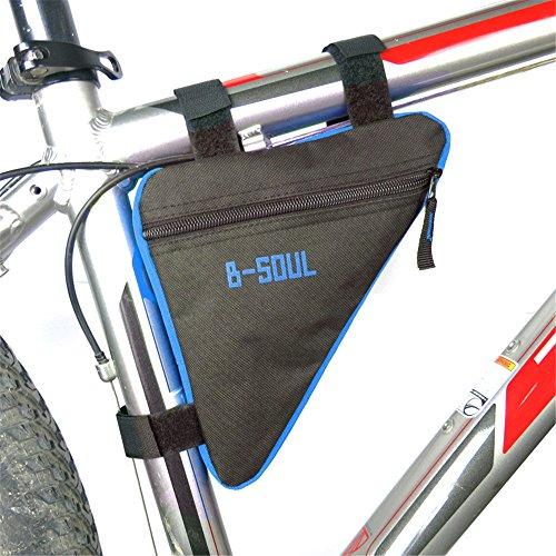 superwinger Fahrrad Bike Bag Top Tube Triangle Bag Front Sattel Rahmen Tasche Outdoor Black+Blue