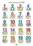 Fragenbär-Lernposter: Zahlen und Mengen von 1 bis 20, M 50 x 70 cm: Gerollt, matt folienbeschichtet, abwischbar (Lerne mehr mit Fragenbär)