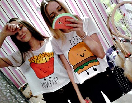 JWBBU® Damen Shirt kurzarm T Shirt Damen mit Aufdruck Best Friends T-Shirt Pommes Frites Damen Sommer Tops Mit Cartoon Friends