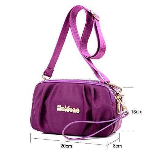 Young & Ming - Damen Handbag mit wasserdichtem Material con Multi Taschen Schultertasche mit verstellbarem Schultergurt und Handschlaufe Lila