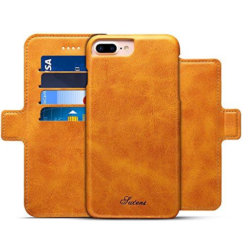 iPhone 6 Plus/6s Plus Leder Flip Case Handyhülle und Brieftasche Handytasche mit 4 Kredit Kartenfächer - Abnehmbare Magnet Schutzhülle - Standfunktion,Khaki (Khaki Plus)
