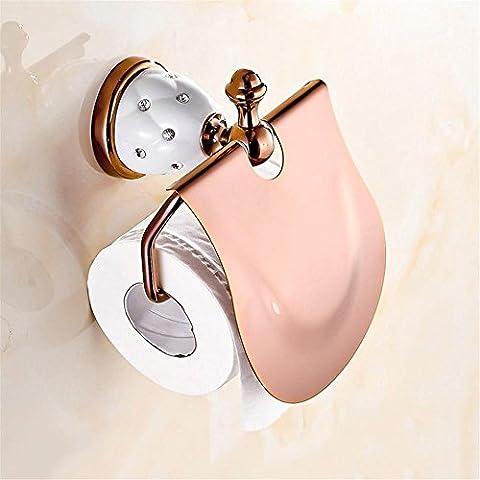 Modylee Porta carta igienica d'oro con diamante, porta rotolo, Portarotolo, in ottone massiccio-bagno accessori prodotti , 4 - Oro Lungo Diamante Set