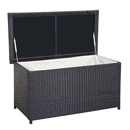 Mendler Poly-Rattan Kissenbox HWC-D43, Truhe Auflagenbox Gartentruhe, 51x100x50cm 160l ~ schwarz