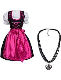 Dirndl Set 4 tlg. Trachtenkleid schwarz mit pinker Stickerei leuchtende Farbe Hakenverschluß + Dirndlkette mit Herz Anhänger, Marke Gaudi-Leathers