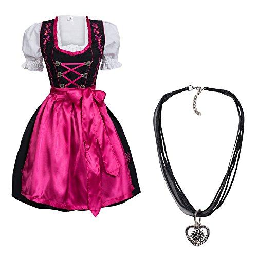 Dirndl Set 4 tlg. Trachtenkleid schwarz mit pinker Stickerei Hakenverschluß + Dirndlkette 44