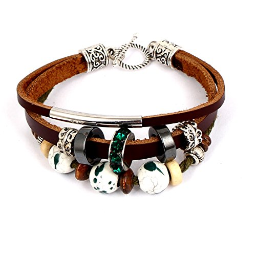 Generic Women Plastic Bead Decor Interlocking Faux Leather Wrist Bracelet