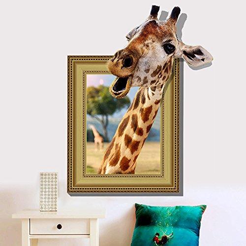 Wandbild ZOZOSO Wandaufkleber Giraffe 3D Photo Frame Sticker Kreativer Wandaufkleber Dress Up (Giraffe Up Dress)
