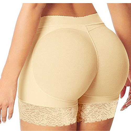 Eleery Frauen Nahtlose Hohe Taille mit Push-up Bodyshaper Padded Shapewear Unterwäsche (XXL, Beige)