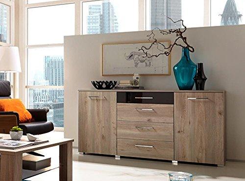Sideboard in Silbereiche-NB mit Abs. in Schwarzglas, 2 Türen, 2 Einlegeböden, 1 Schubkasten mit Glasblende u. 3 Schubkästen, Maße: B/HT 165/88/45 cm