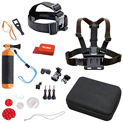 Rollei Actioncam Zubehör Set Wassersport - 22-Teiliges Set, ideal für alle Aktivitäten rund ums Wasser, kompatibel mit allen Rollei und GoPro Actioncams, inkl. Zubehörtasche