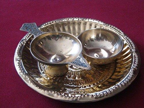 artcollectibles Indien navratra Puja Thali Messing Elemente Teller Diya Lampe Schale Hindu Räucherstäbchen Pooja Religiöse Artikel - Indien-elemente