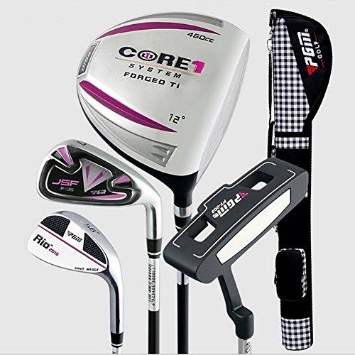 PGM Golfschläger Halb Sets Golf Paket --- 1Driver, 1Eisen, 1sand Wedge, 1Putter, die in ein Gun Tasche, Herren damen, pink for women