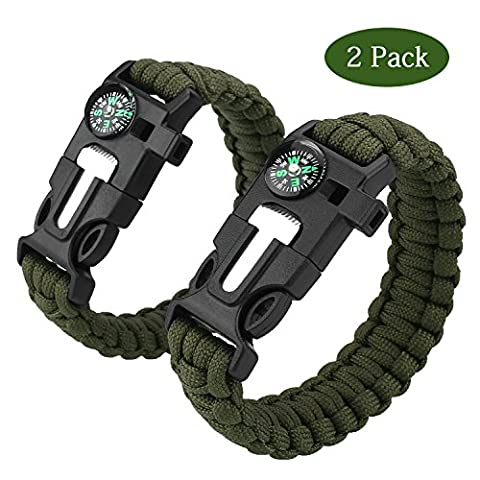 Paracord Survival Bracelet,Cido 2 Pack [5 in 1] Outdoor Survial Kit with Parachute Cord Buckle,Compass,Flint Fire Starter,Scraper Whistle Function for Ourdoor Emergency