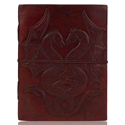 Diario de piel hecho a mano Zap Impex®, cuaderno de notas, bloc de dibujo con funda para papeles, portada con diseño Double Dragon, libro en blanco, cordel (18 x 13cm).