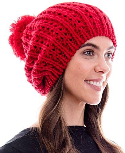 Hilltop Damen Mädchen Strickmütze/Mütze / Bommelmütze/Beanie mit Pompon, Farbe/Beanie:Rot