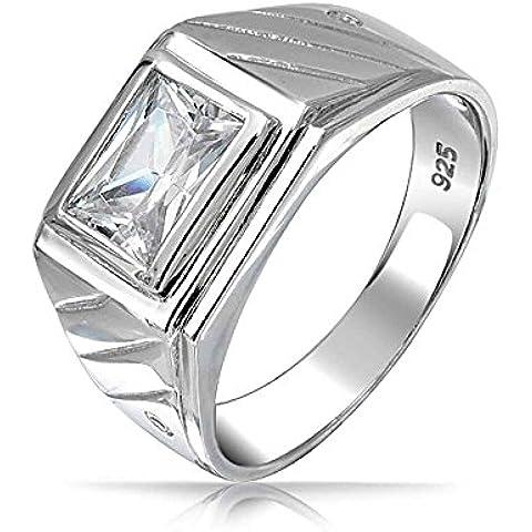 Bling Jewelry 925 Rectangle CZ scanalata Lines Mens Anello di fidanzamento