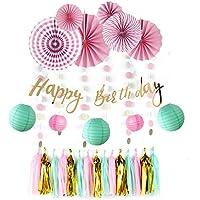 Sunbeauty Decorazione Rosa, Con Banner Happy Birthday, Lanterna Carta Decorazione, Per Compleanno, Anniversario, Festa