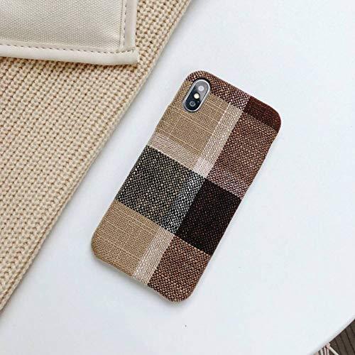 KONGMM Winter Tuch Shell Telefon case für iPhone 6 6 s 7 8 Plus case weiche silikon Stoff Textil für iPhone x xs max xr rückseitige Abdeckung Coque-Brown Plaid,for iPhone 8 Plus (Plaid Button Brown)