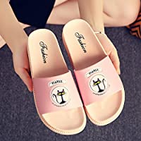 fankou Slippers Women Indoor Summer Home Cool Slippers Bath Bathroom Non-Slip Couples Home Slippers Students Tide Shoes Thick 猫,38/39, Pink