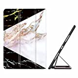 VMAE iPad Air 2 Case, Ultra Slim Marble Pattern Smart Protective Cover, Folio Stand TPU Back Cover with Auto Sleep and Wake Function for Apple iPad Air 2/iPad 6 2014 Model - Black&Gold