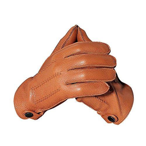 Asfdsfds Lederhandschuhe für Herbst und Winter, Futter: Mit Wildleder gefütterte Handschuhe für die Lokomotive (Color : LIGHT TAN, Size : S) -