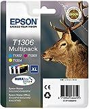Epson Original T1306 Tinte Hirsch, wisch- und wasserfeste XL (Multipack 3-farbig) (CYM)
