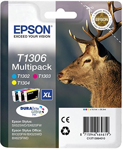 Epson Original T1306 Tinte Hirsch, wisch- und wasserfeste XL (Multipack 3-farbig) (CYM)