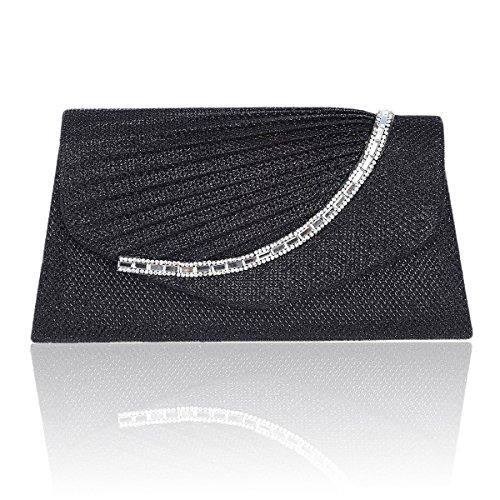 Damara® Trapezförmig Damen Glitzer Bräutlich Mit Falten Handtaschen Schwarz
