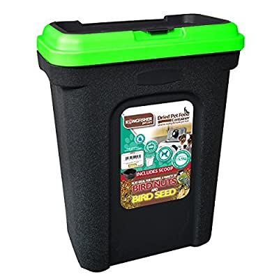 Pet Food Storage Container Black. Holds 15.5kg. Green Lid. Rubber Seal. from ""