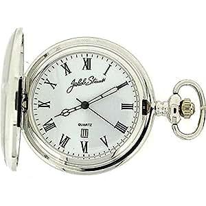 Jakob Strauss Silver Metal Tone Gents Date Pocket Watch on 12 Chain JAST05