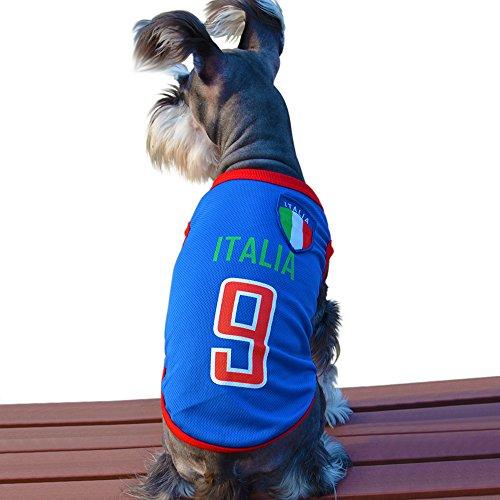 Besmall Hunde Trikot Fußball Jersey T-Shirt für Hunde Katzen Kostüme Haustier Weltmeisterschaft Weihnachtsmannkostüm Kleidung Haustierhundekleidung (XS/S/M/L/XL/XXL,Italien)
