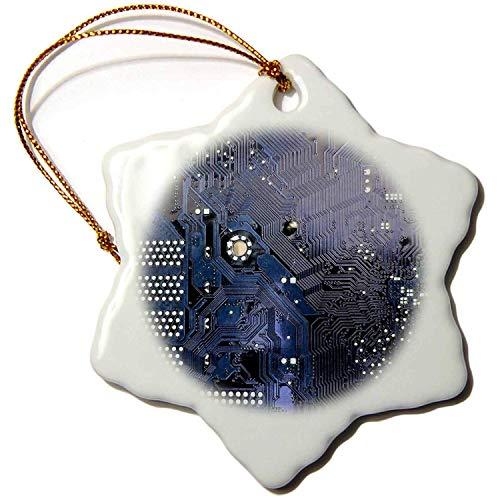 Tamengi Computer-Chip, Makro-Mikrochip-Motherboard, Elektronikschaltungen, Tech-Geek Nerd, Porzellan, Schneeflocken-Ornament, 7,6 cm (Vintage Motherboard)