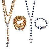 3e158005818 SUNNYCLUE Rosario Oración Granos Que Hacen Kit DIY 7mm Madera Rosario  Granos católicos