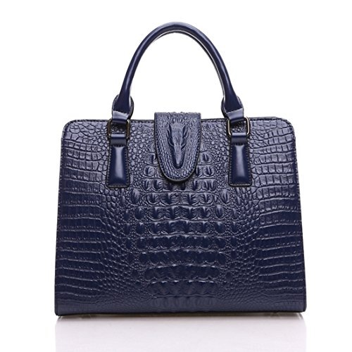 Krokodil-leder Handtasche (KAXIDY Krokodil Leder Damen Handtasche Schultertasche Tasche Umhängetasche Shopper Henkeltasche (Blau))