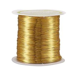 NBEADS, Filo di Rame Placcato Oro, 8 m, Rotolo da 0,8 mm, Filo Metallico per Gioielli, Artigianato, modellismo, Giardinaggio, Confezioni, 72m/Roll, 0.3mm in Diameter