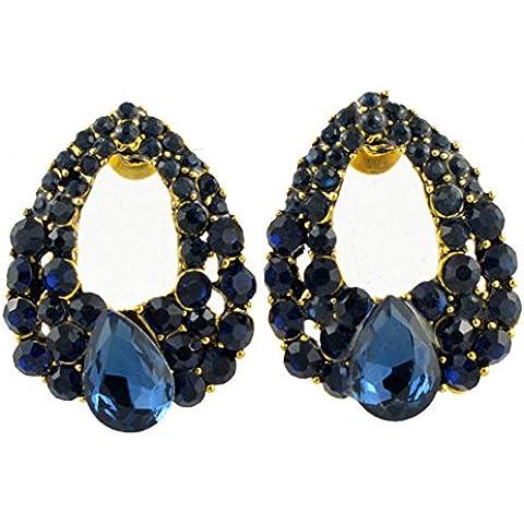SaySure–18K Gold Filled Azul Cristal Austríaco Pendientes de gota