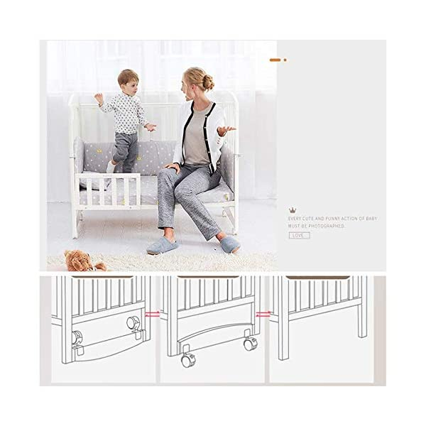 Solid Wooden Baby Cot,toddler Bed, Multifunctional White Cradle Bed Newborn Stitching, Height Adjustable HXYL Package contains bed, mosquito net, mosquito net pole, moving caster, kit Split panel for connecting to a large bed Three heights are adjustable to suit your child's different needs 6